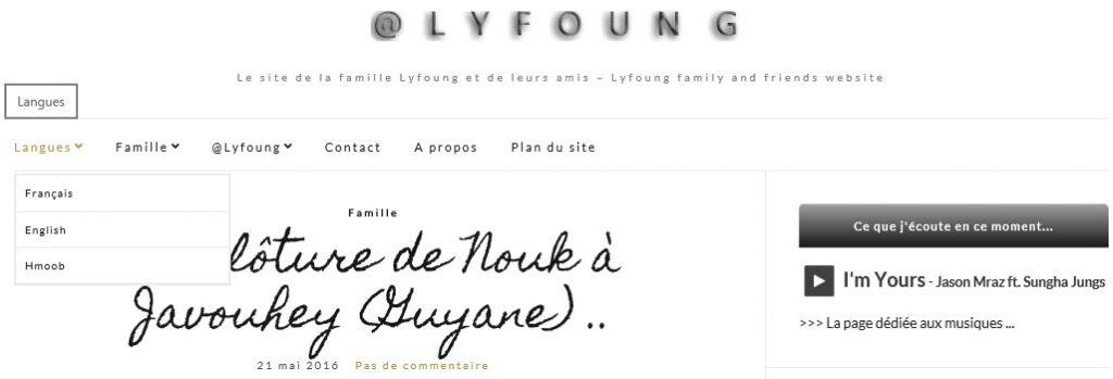 Menu Langues du site @Lyfoung